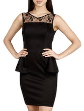 Black Sleeveless Polyester Peplum Dress - HERMOSEAR