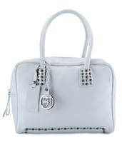 Studded White Leather Handbag - Phive Rivers