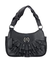 Black Ruffle Detailed Leather Shoulder Bag - Phive Rivers