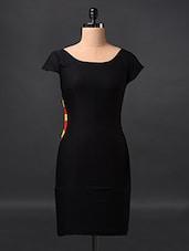 Black Short Sleeve Polylycra Dress - Fashionexpo