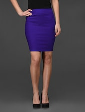 Royal Blue Plain Bodycon Skirt - Fashionexpo