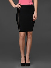 Black Side Zipper Bodycon Skirt - Fashionexpo