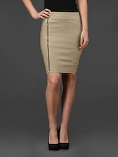 Beige Side Zipper Bodycon Skirt - Fashionexpo