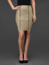 Beige Double Zip Front Bodycon Skirt - Fashionexpo