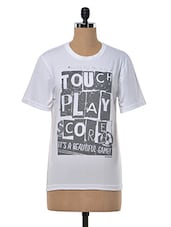 """"""" Touch Play Score""""  Printed T Shirt - Happily Unmarried"""