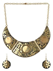 Crescent Inspired Brass Necklace Set - Jewel Paradise