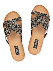 Metal Stud Embellished Black Wedge Slippers - LOZENGE