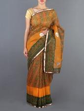 Green And Yellow Printed Cotton Saree - Siya