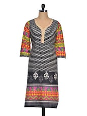 Three Quarter Sleeves Printed Cotton Kurta - Golden Peacok
