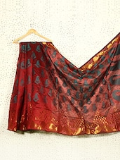 Printed Maroon Art Silk And Zari Banarasi Saree - Prabha Creations