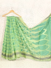 Printed Lime Green Art Silk And Zari Saree - Prabha Creations
