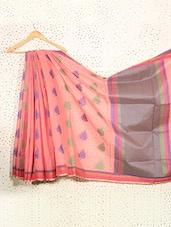 Lotus Print Coral Pink Art Silk Saree - Prabha Creations