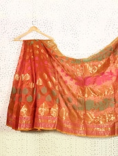 Rust Orange Art Silk And Zari Banarasi Saree - Prabha Creations