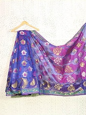 Royal Blue Art Silk And Zari Banarasi Saree - Prabha Creations