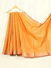 Orange Art Silk And Cotton Banarasi Saree - Prabha Creations