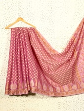 Mauve Jacquard Art Silk And Cotton Saree - Prabha Creations