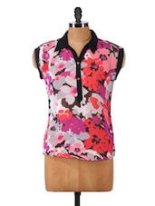 Multicolor Floral Printed Polyester Top - Mishka