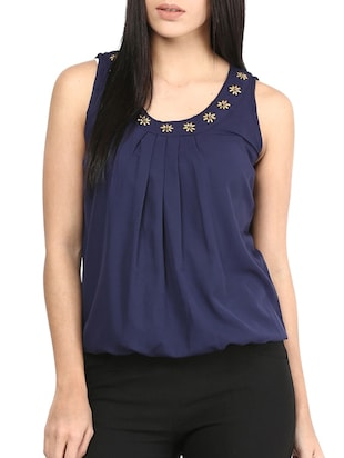 navy blue poly crepe top