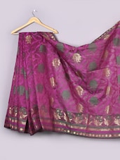 Magenta Woven Floral Cotton Silk Saree - WEAVING ROOTS