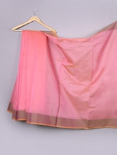 Plain Light Pink Pattli Cotton Silk Saree - WEAVING ROOTS
