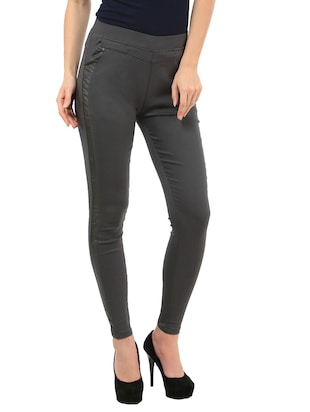 grey polyester lycra trousers