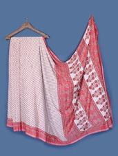 White And Red Printed Saree - Anoha