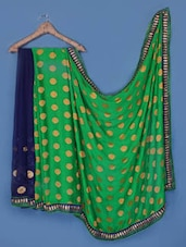 Navy Blue And Green Georgette Saree - Anoha