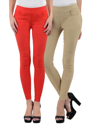 red, beige cotton lycra leggings