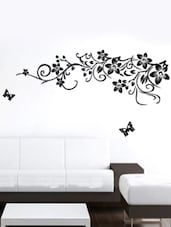 Black Floral Vine & Butterflies Vinyl Sticker - WallDana