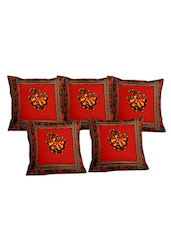 Lali Prints Patch Work Ethical Ghumar Dance Print Cushion Cover Set Of 5 - By