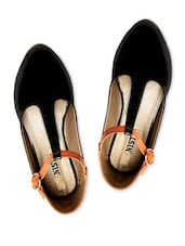 Black Color Block  Patent Leather Ballerinas - Gnist