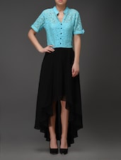 Black And Turquoise High-Low Shirt Dress - Eavan