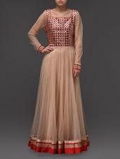 Embellished Beige Maxi Dress - Eavan