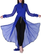 Royal Blue Asymmetric Front Slit Kurta - Sugar Her