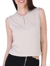 Front Zip Detailed Sleeveless Knit Top - Sugar Her