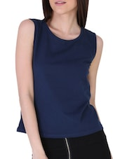 Sleeveless Back Cut Out  Knit Top - Sugar Her