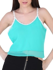 Double Layered Lace Detailed Crop  Top - Sugar Her