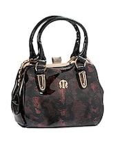 Glossy Black Textured Hand Bag - Alonzo