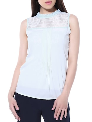 ice blue poly crepe, net top