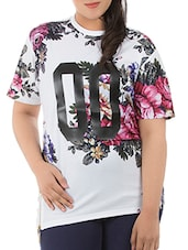 White Cotton Floral Printed T-Shirt - LastInch