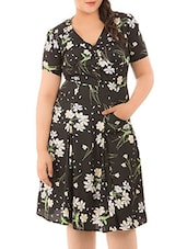 Black Polyester Floral Dress - LastInch