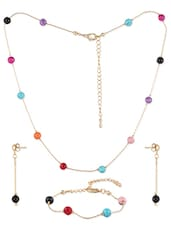 Beads Studded Metal Alloy  Necklace Set - Siyora