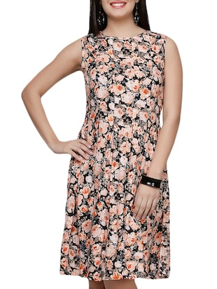 peach, black rayon aline dress