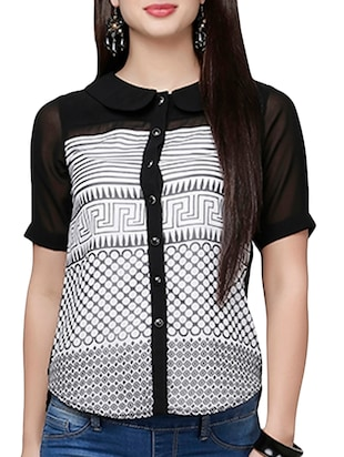 black , white georgette shirt