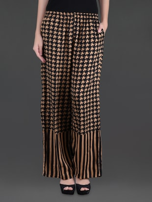 Black and beige printed viscose palazzos