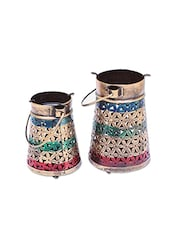 Crafticia Craft Traditional Rajasthani Handicraft Unique Metal Tealight Candle Holder Bucket Set - By