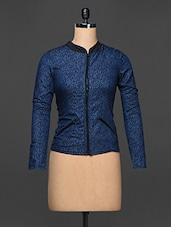 Denim Blue Floral Cotton Viscose Jacket - Kaaryah
