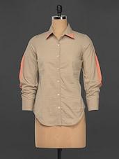 Beige Cotton Formal Button Down Shirt - Kaaryah
