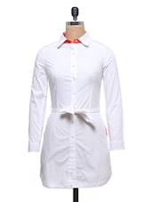 White Cotton Polyester Shirt Dress With Fabric Belt - By