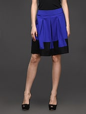 Blue Box Pleated Color Block Skirt - Kaaryah